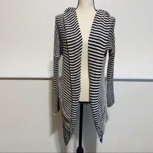 Monoreno Open Front Striped Sweater Navy & Cream
